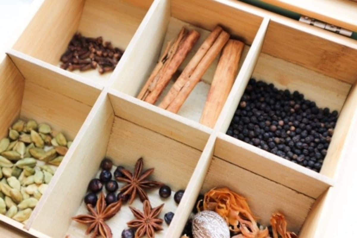 Spices for speculaas in a wooden box