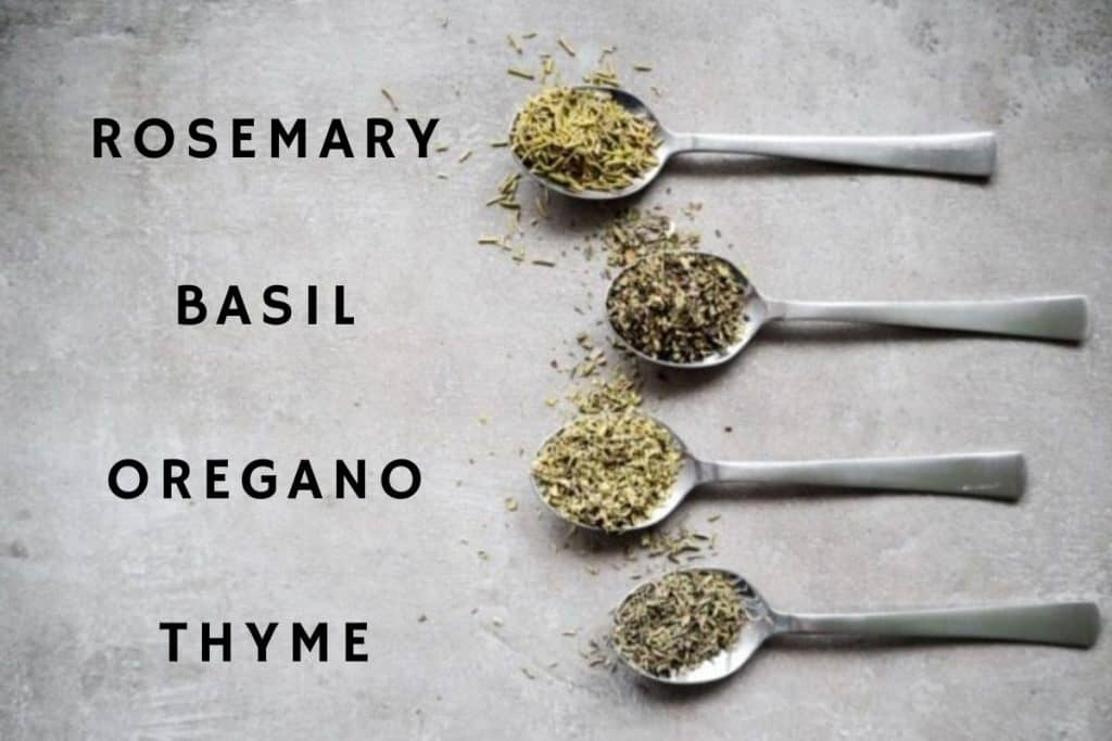 Ingredients for Italian seasoning on a spoon with a concrete background